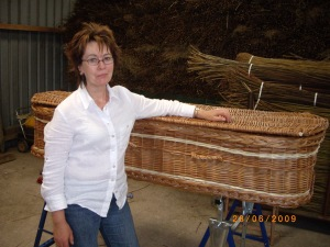 Avril with completed Willow coffin