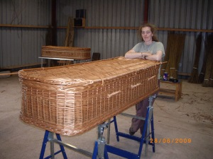 Jane with finished willow coffin