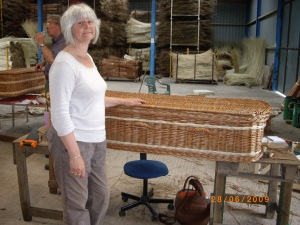 Avril with completed coffin, well done all