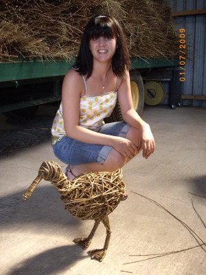 Sculpture course student and her duck